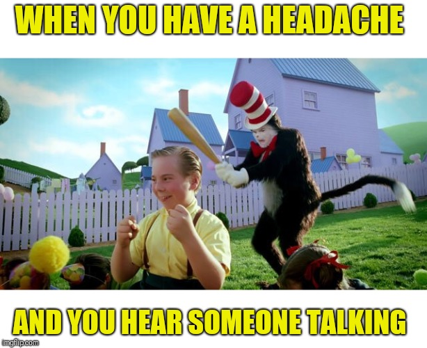 Cat & The Hat | WHEN YOU HAVE A HEADACHE AND YOU HEAR SOMEONE TALKING | image tagged in cat  the hat,shut up,headache | made w/ Imgflip meme maker