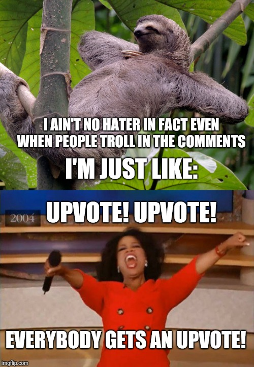 Opinions aren't attacks, let's be happy. | I AIN'T NO HATER IN FACT EVEN WHEN PEOPLE TROLL IN THE COMMENTS I'M JUST LIKE: UPVOTE! UPVOTE! EVERYBODY GETS AN UPVOTE! | image tagged in sloth chill,operah,upvote,chill,funny memes,smile | made w/ Imgflip meme maker