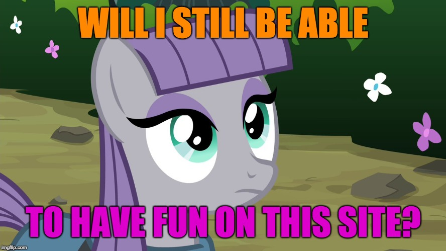 Man, with all the trolls around, and the accounts different from what they used to be, this site isn't as much fun as it was! |  WILL I STILL BE ABLE; TO HAVE FUN ON THIS SITE? | image tagged in maud is interested,memes,fun,imgflip,users,ponies | made w/ Imgflip meme maker