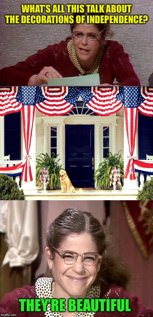 Happy Birthday America | WHAT'S ALL THIS TALK ABOUT THE DECORATIONS OF INDEPENDENCE? THEY'RE BEAUTIFUL | image tagged in bad pun gilda radner playing emily litella,memes,fourth of july | made w/ Imgflip meme maker