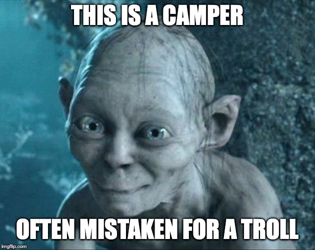 Camper | THIS IS A CAMPER OFTEN MISTAKEN FOR A TROLL | image tagged in camper,troll,memes | made w/ Imgflip meme maker