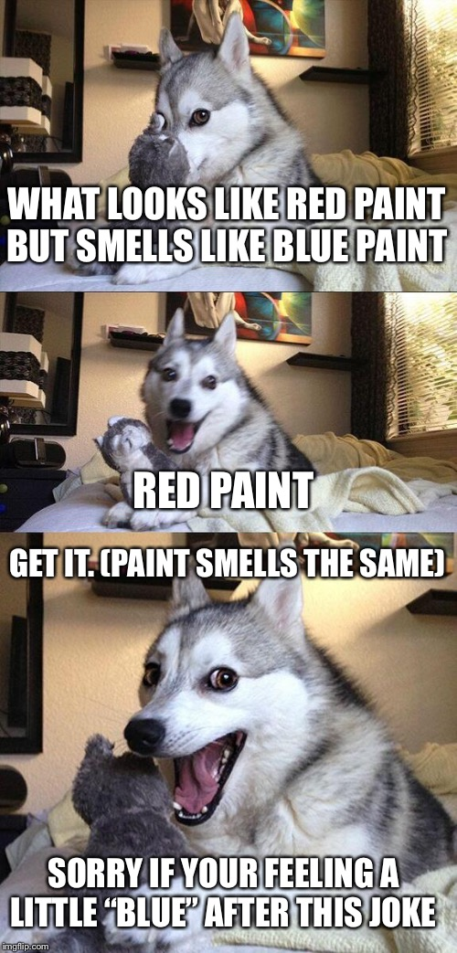 "Sorry if this joke stinks (pun intended) |  WHAT LOOKS LIKE RED PAINT BUT SMELLS LIKE BLUE PAINT; RED PAINT; GET IT. (PAINT SMELLS THE SAME); SORRY IF YOUR FEELING A LITTLE ""BLUE"" AFTER THIS JOKE 