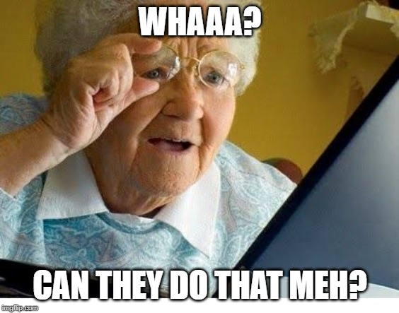 old lady at computer | WHAAA? CAN THEY DO THAT MEH? | image tagged in old lady at computer | made w/ Imgflip meme maker
