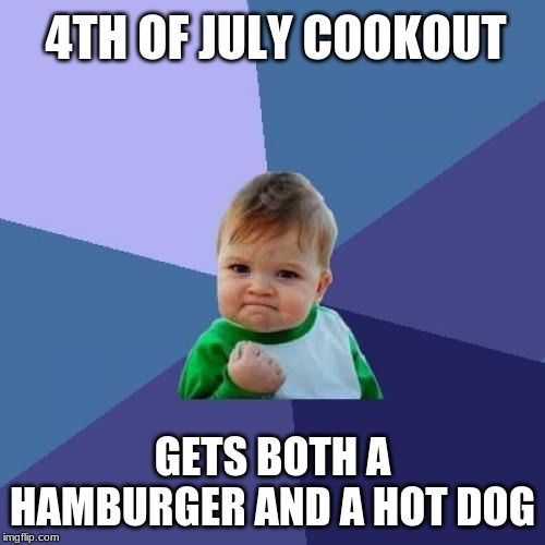Is this not a free country? | 4TH OF JULY COOKOUT GETS BOTH A HAMBURGER AND A HOT DOG | image tagged in memes,success kid,4th of july,july 4th,barbecue,cookout | made w/ Imgflip meme maker
