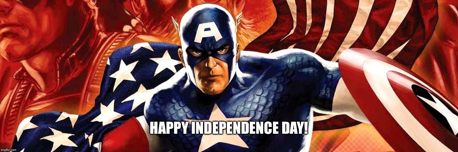 Captain America wishing you a Happy Independence Day! | image tagged in captain america,independence day,4th of july,patriotism,patriotic,avengers | made w/ Imgflip meme maker