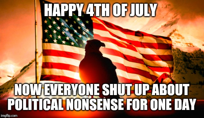 HAPPY 4TH OF JULY NOW EVERYONE SHUT UP ABOUT POLITICAL NONSENSE FOR ONE DAY | image tagged in usa | made w/ Imgflip meme maker