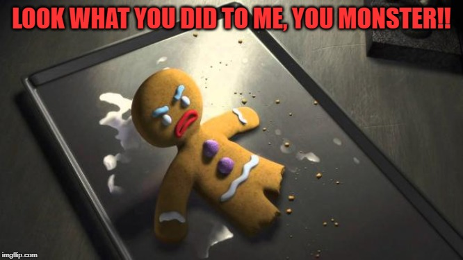 Angry Gingerbread Man | LOOK WHAT YOU DID TO ME, YOU MONSTER!! | image tagged in angry gingerbread man | made w/ Imgflip meme maker