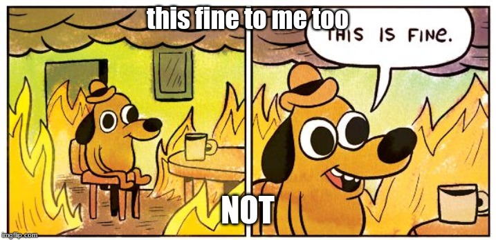 This Is Fine |  this fine to me too; NOT | image tagged in this is fine dog | made w/ Imgflip meme maker