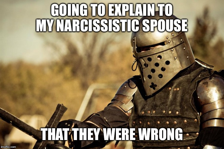 GOING TO EXPLAIN TO MY NARCISSISTIC SPOUSE THAT THEY WERE WRONG | image tagged in armored combat | made w/ Imgflip meme maker