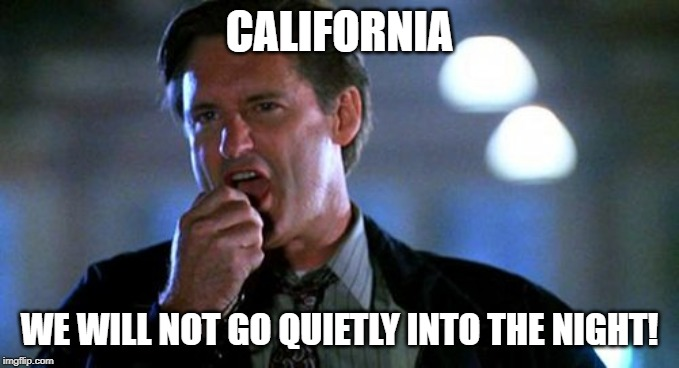 Independence day  | CALIFORNIA WE WILL NOT GO QUIETLY INTO THE NIGHT! | image tagged in independence day | made w/ Imgflip meme maker