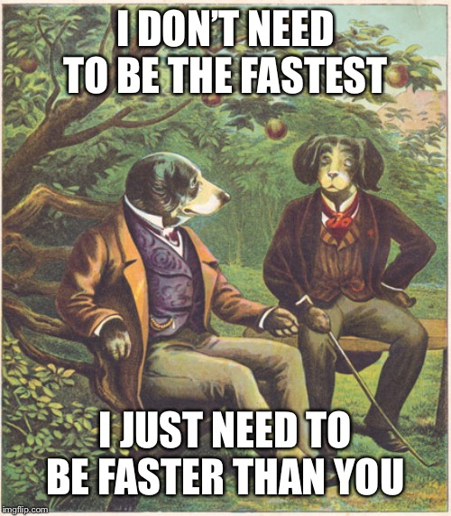 Dogs Talking | I DON'T NEED TO BE THE FASTEST I JUST NEED TO BE FASTER THAN YOU | image tagged in dogs talking | made w/ Imgflip meme maker