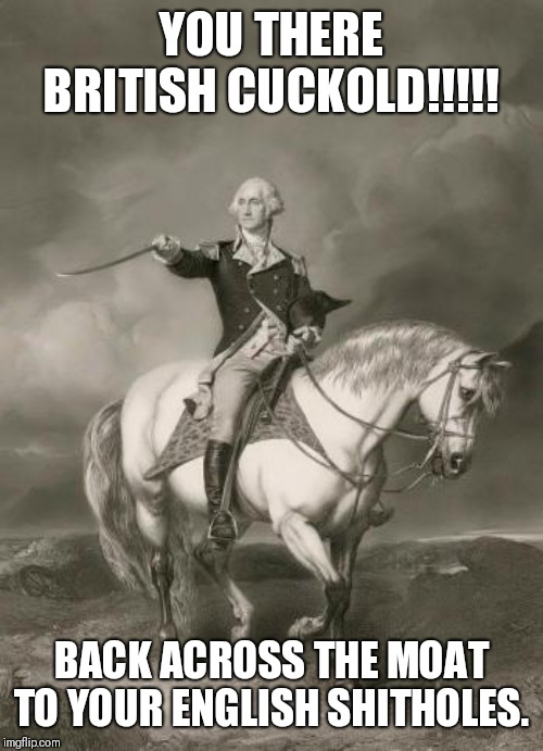 adventures of george washington | YOU THERE BRITISH CUCKOLD!!!!! BACK ACROSS THE MOAT TO YOUR ENGLISH SHITHOLES. | image tagged in adventures of george washington | made w/ Imgflip meme maker