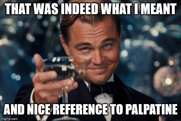 Leonardo Dicaprio Cheers Meme | THAT WAS INDEED WHAT I MEANT AND NICE REFERENCE TO PALPATINE | image tagged in memes,leonardo dicaprio cheers | made w/ Imgflip meme maker