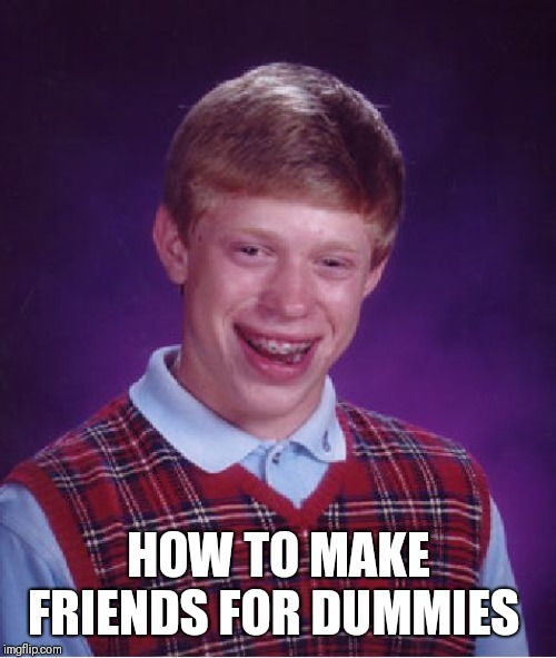 Bad Luck Brian Meme | HOW TO MAKE FRIENDS FOR DUMMIES | image tagged in memes,bad luck brian | made w/ Imgflip meme maker