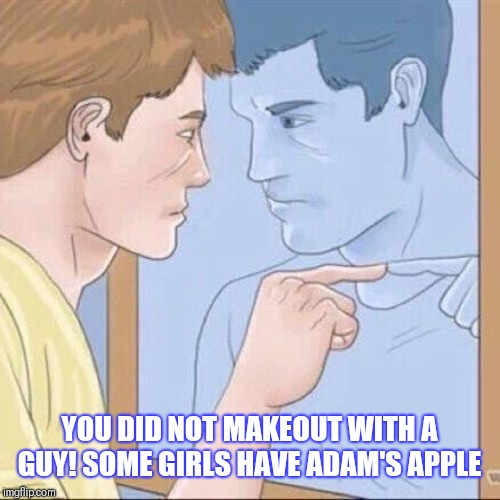 Pointing mirror guy | YOU DID NOT MAKEOUT WITH A GUY! SOME GIRLS HAVE ADAM'S APPLE | image tagged in pointing mirror guy | made w/ Imgflip meme maker