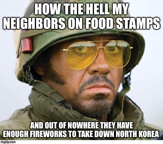 Happy 4th! | HOW THE HELL MY NEIGHBORS ON FOOD STAMPS AND OUT OF NOWHERE THEY HAVE ENOUGH FIREWORKS TO TAKE DOWN NORTH KOREA | image tagged in fireworks,food stamps,north korea | made w/ Imgflip meme maker