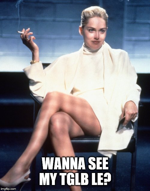 WANNA SEE MY TGLB LE? | image tagged in sharon stone's advice | made w/ Imgflip meme maker