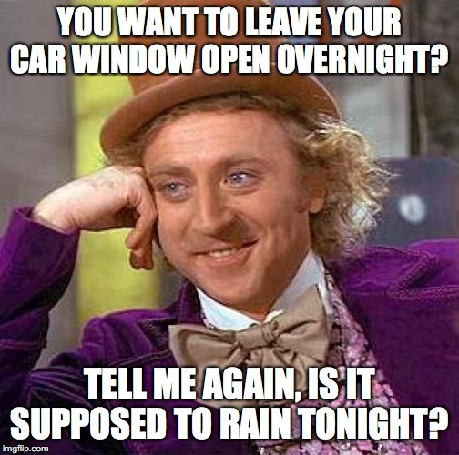 There has been a lot of rain where I live lately! | YOU WANT TO LEAVE YOUR CAR WINDOW OPEN OVERNIGHT? TELL ME AGAIN, IS IT SUPPOSED TO RAIN TONIGHT? | image tagged in memes,creepy condescending wonka,rain,car window | made w/ Imgflip meme maker