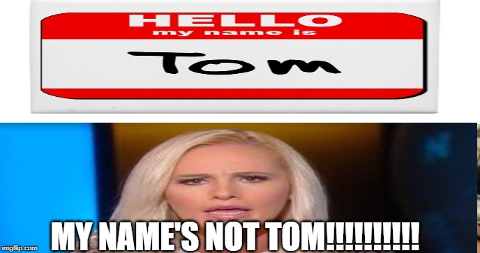 Crazy Tomi | MY NAME'S NOT TOM!!!!!!!!!! | image tagged in tomi lahren | made w/ Imgflip meme maker