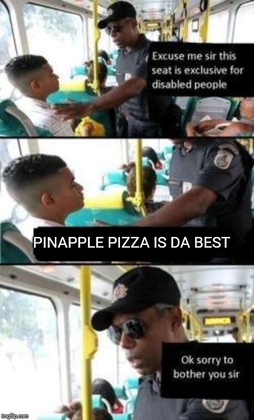 Disabled seat | PINAPPLE PIZZA IS DA BEST | image tagged in disabled seat | made w/ Imgflip meme maker