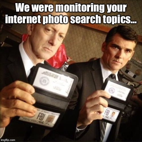 FBI | We were monitoring your internet photo search topics... | image tagged in fbi | made w/ Imgflip meme maker