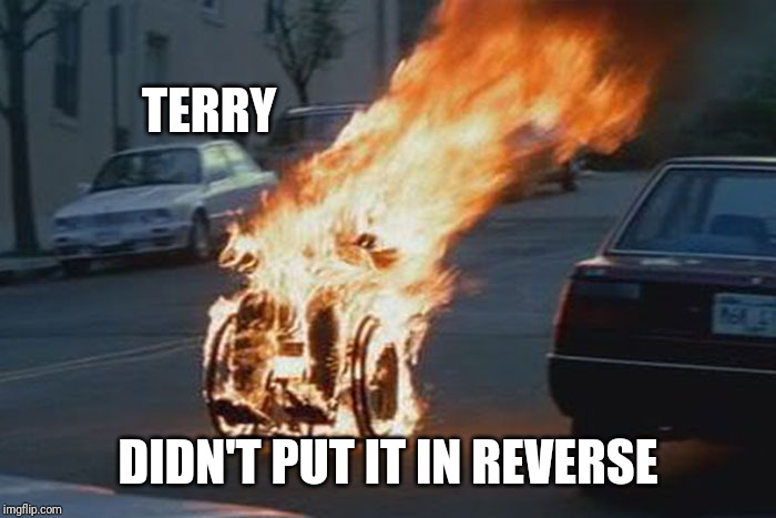 wheelchair | TERRY DIDN'T PUT IT IN REVERSE | image tagged in wheelchair | made w/ Imgflip meme maker
