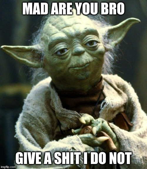 Star Wars Yoda Meme | MAD ARE YOU BRO GIVE A SHIT I DO NOT | image tagged in memes,star wars yoda | made w/ Imgflip meme maker