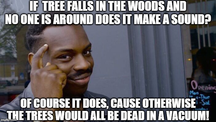 Where There's Atmosphere, there is sound! | IF  TREE FALLS IN THE WOODS AND NO ONE IS AROUND DOES IT MAKE A SOUND? OF COURSE IT DOES, CAUSE OTHERWISE THE TREES WOULD ALL BE DEAD IN A V | image tagged in memes,roll safe think about it | made w/ Imgflip meme maker