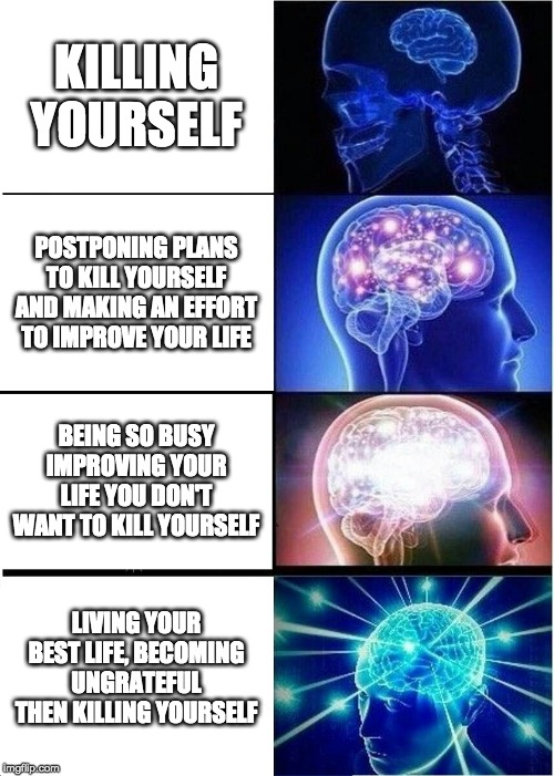 Expanding Brain Meme | KILLING YOURSELF POSTPONING PLANS TO KILL YOURSELF AND MAKING AN EFFORT TO IMPROVE YOUR LIFE BEING SO BUSY IMPROVING YOUR LIFE YOU DON'T WAN | image tagged in memes,expanding brain | made w/ Imgflip meme maker