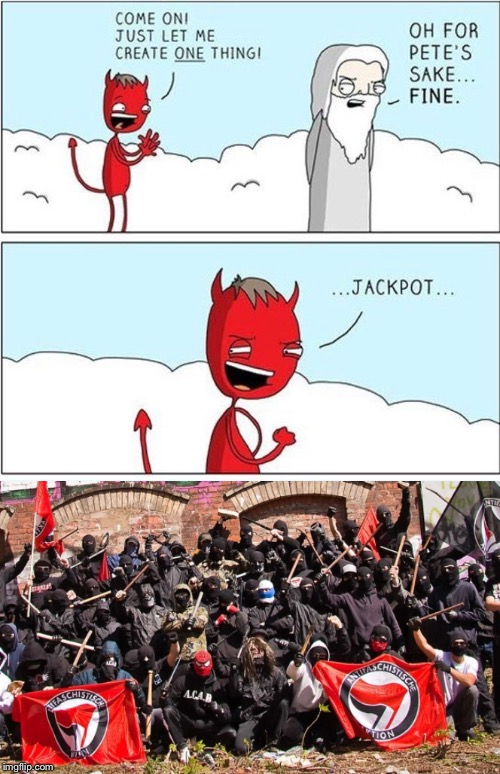 image tagged in antifa,devil-ish | made w/ Imgflip meme maker