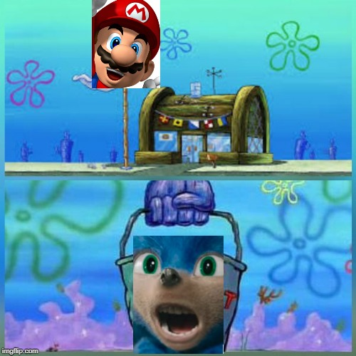 Mario Krab Vs Sonic Bucket | image tagged in memes,krusty krab vs chum bucket,sonic,super mario | made w/ Imgflip meme maker
