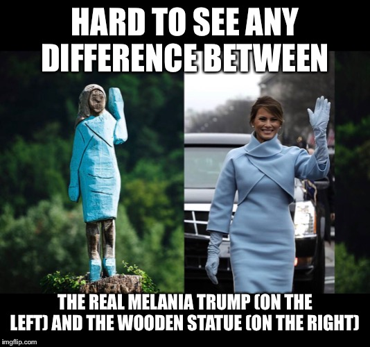 Knock on wood | HARD TO SEE ANY DIFFERENCE BETWEEN THE REAL MELANIA TRUMP (ON THE LEFT) AND THE WOODEN STATUE (ON THE RIGHT) | image tagged in trump,melania trump,statue | made w/ Imgflip meme maker