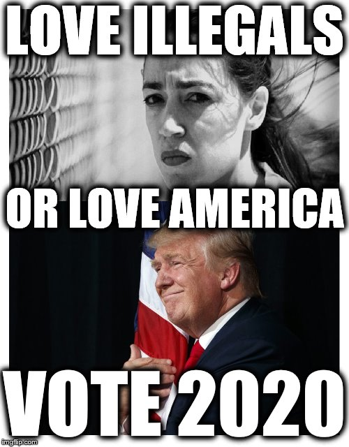 LOVE ILLEGALS; OR LOVE AMERICA; VOTE 2020 | image tagged in trump 2020,maga,alexandria ocasio-cortez,deport,illegal immigration,build the wall | made w/ Imgflip meme maker