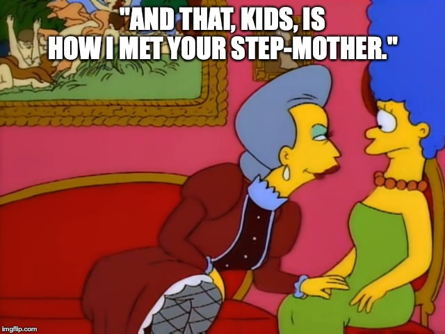 "Marge marries Belle |  ""AND THAT, KIDS, IS HOW I MET YOUR STEP-MOTHER."" 
