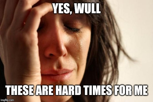 First World Problems Meme | YES, WULL THESE ARE HARD TIMES FOR ME | image tagged in memes,first world problems | made w/ Imgflip meme maker