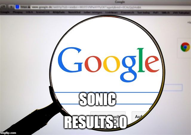 Google search | SONIC RESULTS: 0 | image tagged in google search | made w/ Imgflip meme maker