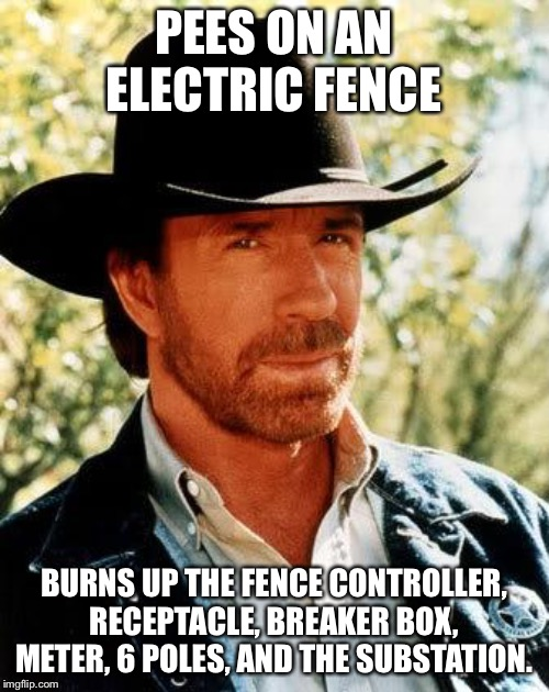 Chuck Norris Meme | PEES ON AN ELECTRIC FENCE BURNS UP THE FENCE CONTROLLER, RECEPTACLE, BREAKER BOX, METER, 6 POLES, AND THE SUBSTATION. | image tagged in memes,chuck norris | made w/ Imgflip meme maker