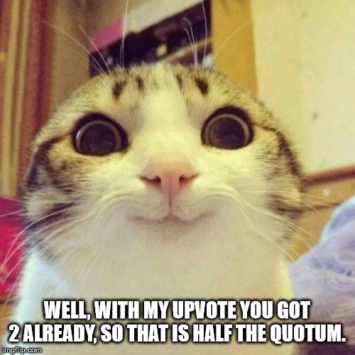 Smiling Cat Meme | WELL, WITH MY UPVOTE YOU GOT 2 ALREADY, SO THAT IS HALF THE QUOTUM. | image tagged in memes,smiling cat | made w/ Imgflip meme maker