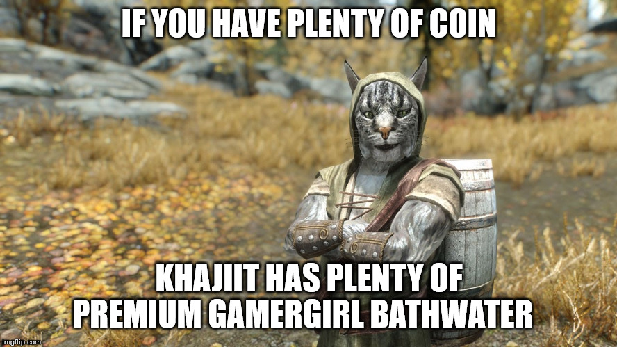 Bathwater and bathwater accessories salesman | IF YOU HAVE PLENTY OF COIN KHAJIIT HAS PLENTY OF PREMIUM GAMERGIRL BATHWATER | image tagged in skyrim,gamer girl,bath water,potion,khajiit,trader | made w/ Imgflip meme maker