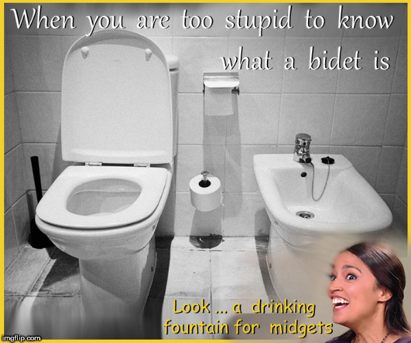 AOC sees a bidet | image tagged in alexandria ocasio-cortez,aoc,full retard,lol so funny,memes,border crisis | made w/ Imgflip meme maker