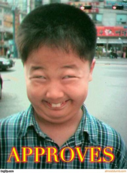 funny asian face | APPROVES | image tagged in funny asian face | made w/ Imgflip meme maker