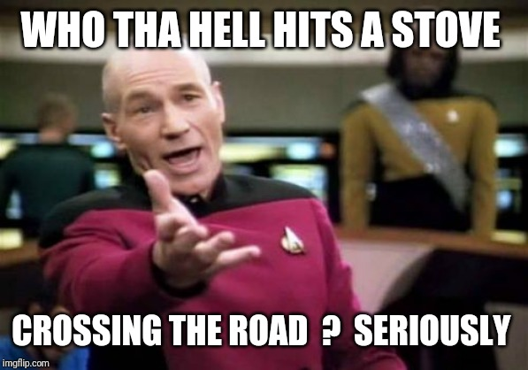 Picard Wtf Meme | WHO THA HELL HITS A STOVE CROSSING THE ROAD  ?  SERIOUSLY | image tagged in memes,picard wtf | made w/ Imgflip meme maker