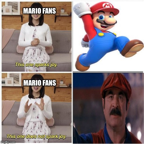 Why the Mario Movie Sucked | MARIO FANS MARIO FANS | image tagged in this one sparks joy,mario,nintendo,super mario bros | made w/ Imgflip meme maker
