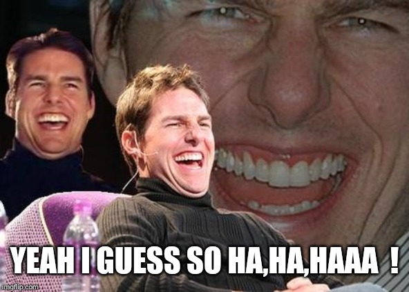 Tom Cruise laugh | YEAH I GUESS SO HA,HA,HAAA  ! | image tagged in tom cruise laugh | made w/ Imgflip meme maker