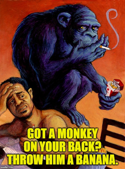Unless he's hanging on, in that case throw poop at him. |  GOT A MONKEY ON YOUR BACK? THROW HIM A BANANA. | image tagged in nixieknox,memes,addiction | made w/ Imgflip meme maker