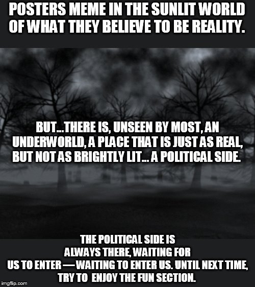 memes from the political side | POSTERS MEME IN THE SUNLIT WORLD OF WHAT THEY BELIEVE TO BE REALITY. THE POLITICAL SIDE IS ALWAYS THERE, WAITING FOR US TO ENTER — WAITING T | image tagged in darkness,tales from the dark side | made w/ Imgflip meme maker