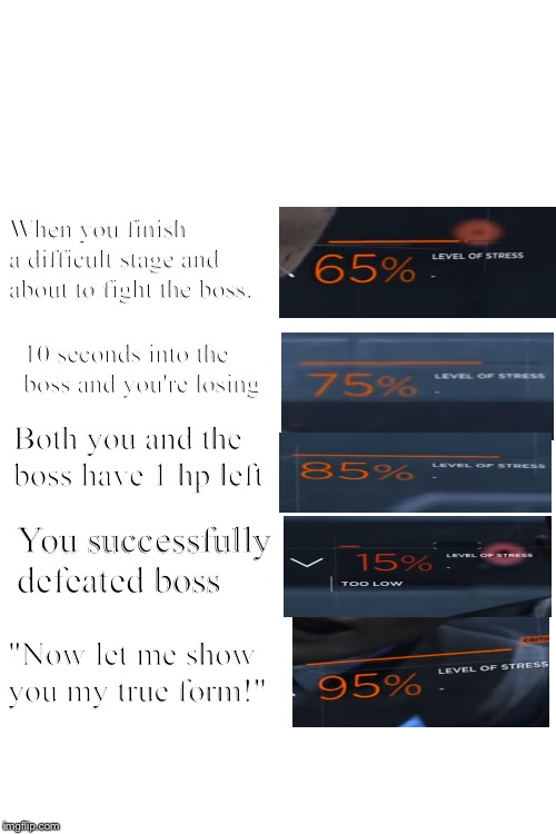 Stress Levels, Video-Game edition | When you finish a difficult stage and about to fight the boss. 10 seconds into the boss and you're losing Both you and the boss have 1 hp le | image tagged in blank white template | made w/ Imgflip meme maker