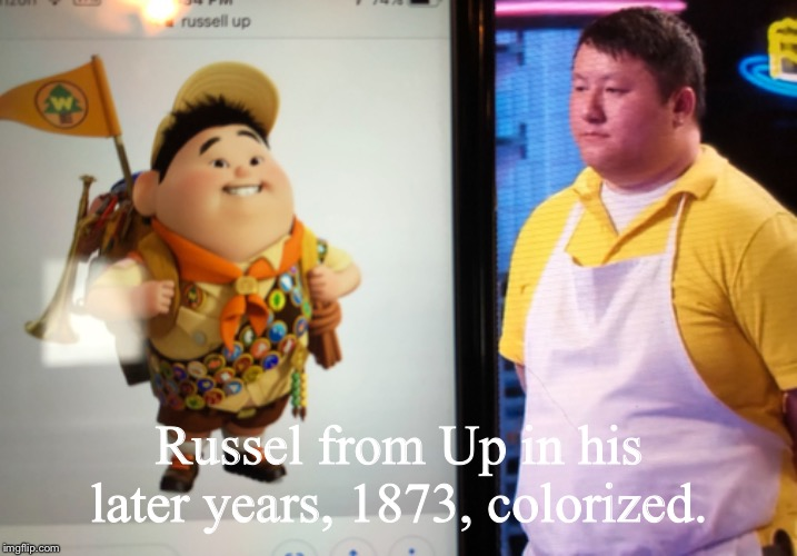 Russel got fired from Pixar | Russel from Up in his later years, 1873, colorized. | image tagged in memes,new job,baker | made w/ Imgflip meme maker
