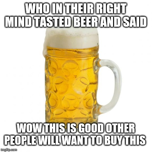 beer | WHO IN THEIR RIGHT MIND TASTED BEER AND SAID WOW THIS IS GOOD OTHER PEOPLE WILL WANT TO BUY THIS | image tagged in beer | made w/ Imgflip meme maker