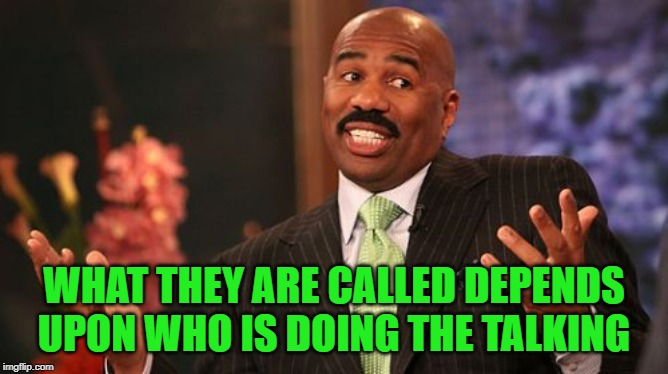 Steve Harvey Meme | WHAT THEY ARE CALLED DEPENDS UPON WHO IS DOING THE TALKING | image tagged in memes,steve harvey | made w/ Imgflip meme maker